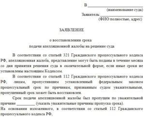 Образец заявления о восстановлении пропущенного срока для подачи возражения