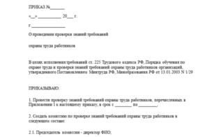Приказ о комиссии по охране труда в организации
