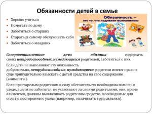 Обязанности ребенка в семье по закону рф перед родителями
